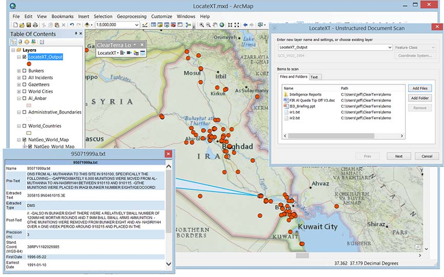 The LocateXT extension for ArcMap is used to extract locations from unstructured data (messages, reports, briefings) into a geodatabase feature class. (Image: ClearTerra)