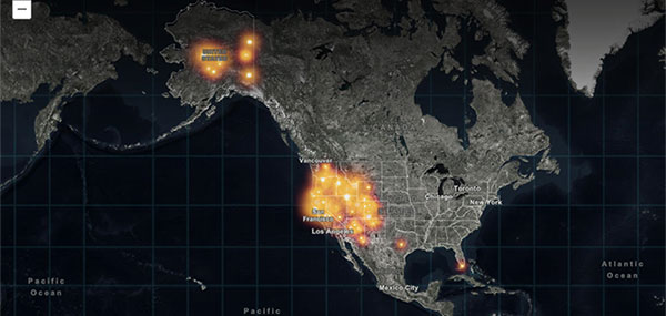 This Esri Storymap provides a quick snapshot of the raging fires across the United States. (Screenshot: Esri)