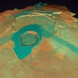 Lidar image of the Hawaii dataset showing the Kilauea Calderand the Halena'uma'u Crater and within it. (Image: Quantum Spatial)