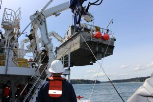 Fairweather crew lower a launch into Puget Sound, Washington, for Hydrographic Systems Readiness Review testing. (Photo: NOAA)