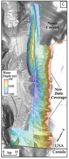Researchers aboard NOAA Ship Fairweather collected multibeam bathymetric data in an area along the U.S. and Canadian international border in water depths ranging from 500 to more than 7,000 feet deep from April through July. (Image: USGS)