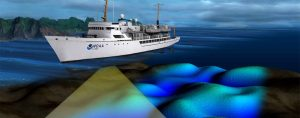 A NOAA survey ship uses its multibeam echo sounder to conduct hydrographic surveys. (Image: NOAA)