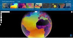 The new Earth Systems Monitor app, powered by Living Atlas data, showing Sea Surface Temperature. (Image: Esri)