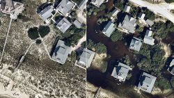 High-resolution imagery shows the impact of Hurricane Florence at Southport, North Carolina, comparing September 2017 to September 2018. (Image: Nearmap)