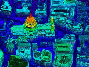 St. Paul's Cathedral in London captured in lidar point-cloud data. (Image: Bluesky)
