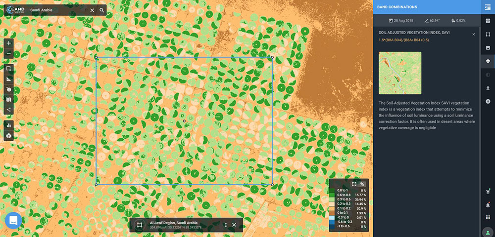 Sentinel-2-derived SAVI analysis of an arid agricultural region in Saudi Arabia. (Screenshot: EOS)