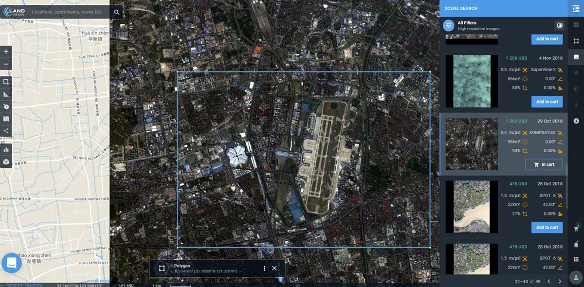 Preview of KOMPSAT-3A image collected over Shanghai Hongqiao International Airport on Oct. 29, 2018. (Photo: EOS)