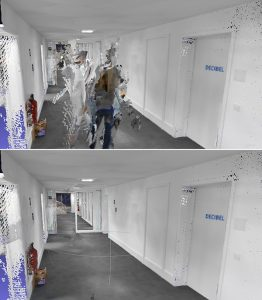 A point cloud before and after the algorithm has been applied to a dynamic object. (Image: NavVis)