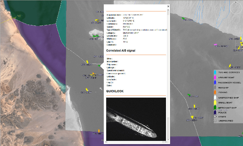 The Ocean Finder provides a satellite-based maritime ship detection service. (Photo: One Atlas)