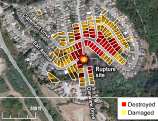 Gas line explosion damage in San Bruno, California. (Image: U.S. Department of Transportation)