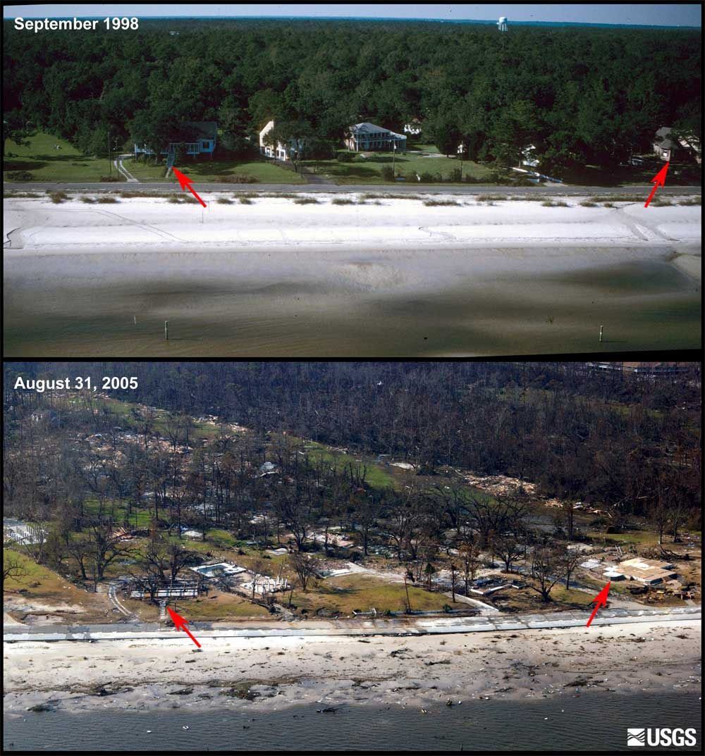 <b>Before and after Hurricane Katrina:</b> Photos taken off the coast of Bay St. Louis, Mississippi, show how the storm surge, estimated to have exceeded 20 feet in Waveland, destroyed homes and left only foundations. Trees have been denuded of all vegetation. (Photo: USGS)