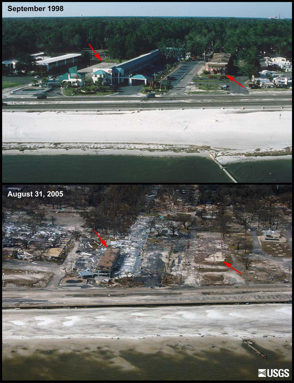 <b>Before and after Hurricane Katrina:</b>In the top image, taken in 1998, notice the Deep South Motel to the left and the apartment building to the right. The bottom image shows the same location on Aug. 31, 2005, two days after Hurricane Katrina made landfall. A small portion of the motel is only structure left standing. (Photo: USGS)