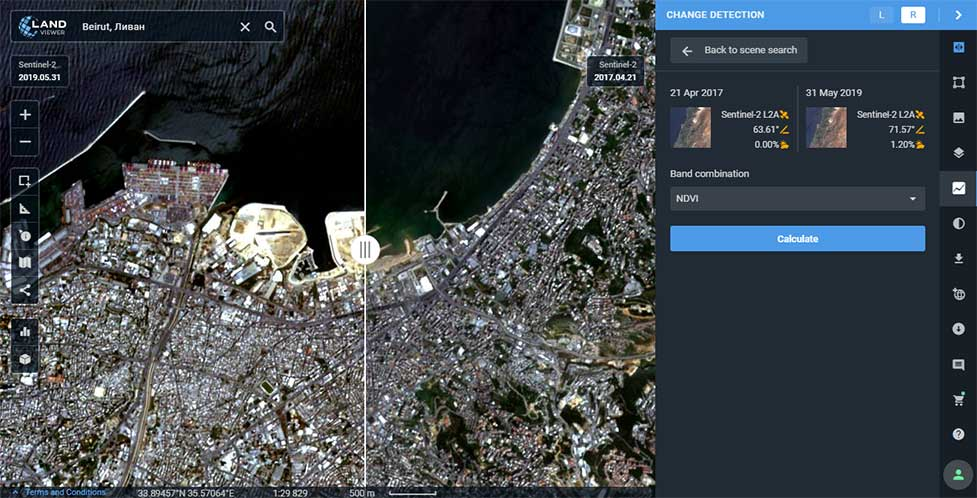 Change detection interface: Images of Beirut city coastline selected for tracing the developments of the past years. (Image: LandViewer)