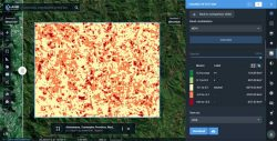 A difference image showing the extent of deforestation in Madagascar between 2016 and 2018; generated from two Sentinel-2 satellite images. (Image: LandViewer)