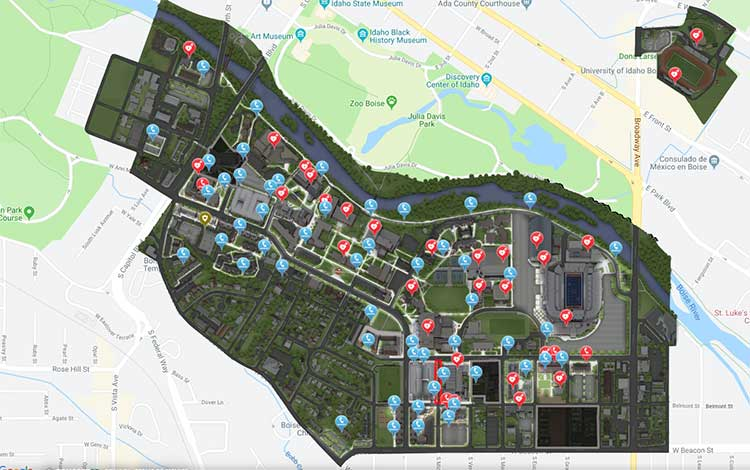The night map of the campus of Boise State University. (Image: Concept3D)