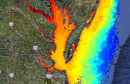 Hyperspectral imagery of U.S. East Coast. (Image: NOAA)