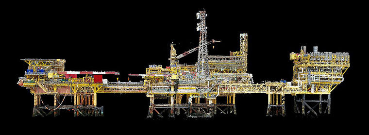 Terra Drone Europe completed an aerial 3D survey and produced a 3D model of an offshore oil rig platform in the North Sea for Shell. (Photo: Terra Drone)