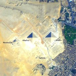 Pyramids of Giza taken from the International Space Station. (Image: NASA)