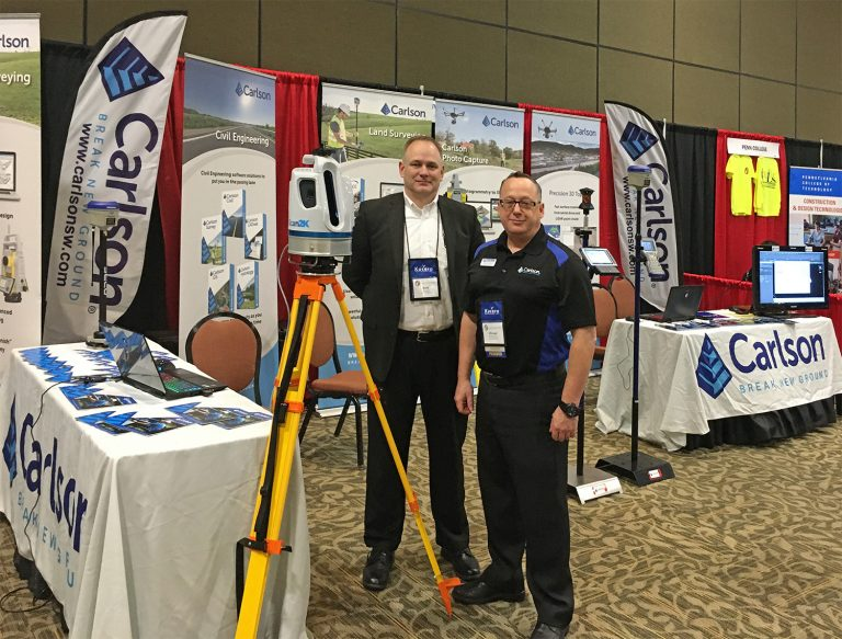 Carlson's Bradley Husack, Special Projects Engineer, and Michael Hyman, Regional Director with the Scan2K at the Pennsylvania Society of Land Surveyors' conference. (Photo: Carlson)