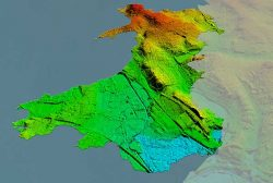 This image of Wales is color-coded to show the relative height of the land. (Image: Bluesky)