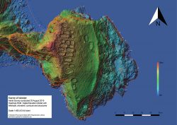 3D model: The heatmap of the Kame of Isbister shows elevations and the archaeological site. (Image: Emlid)