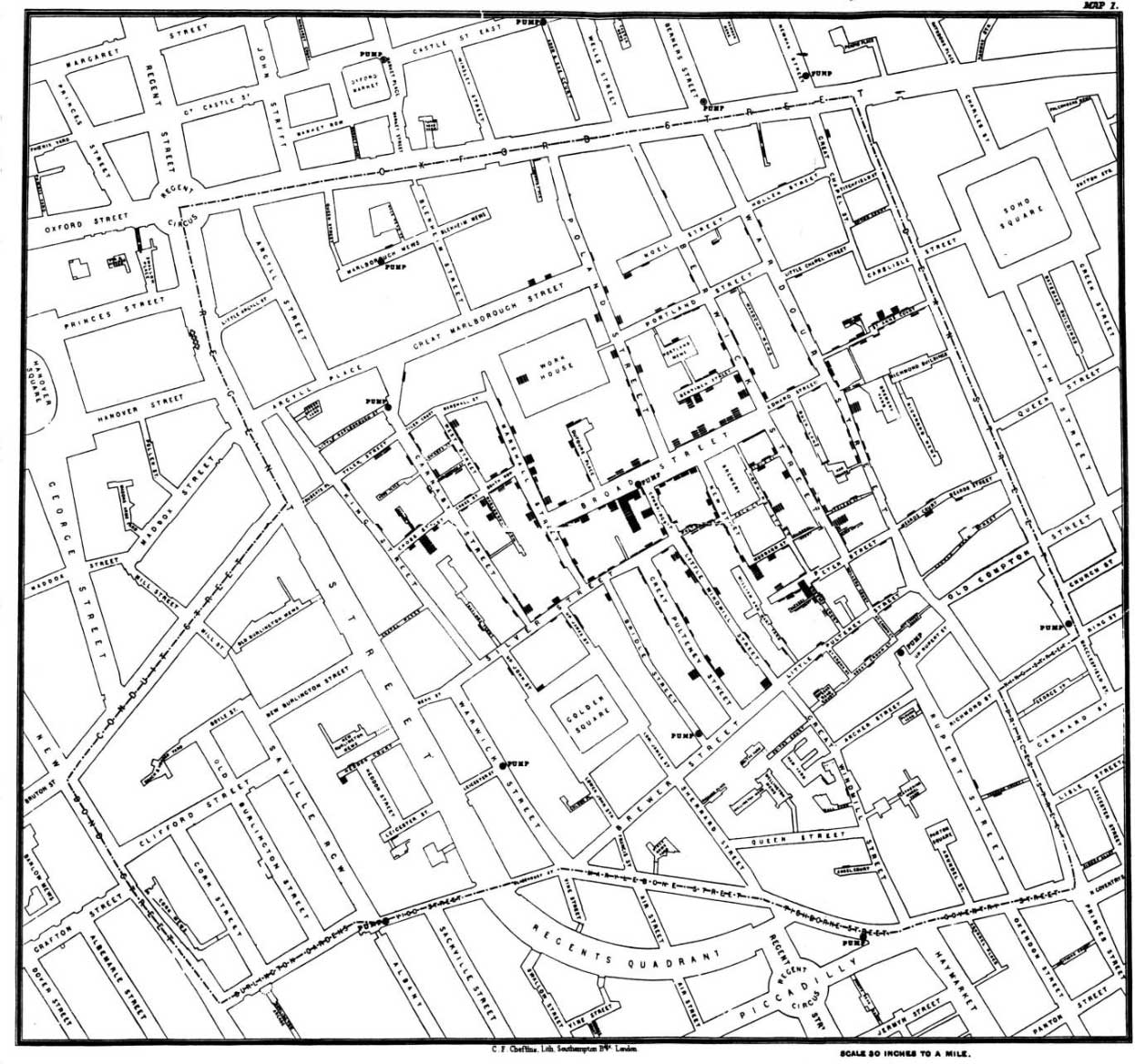 John Snow's 1854 map of the London Broad Street Cholera outbreak. (Image: public domain)