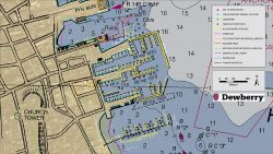 Existing NOAA nautical chart of Nantucket Harbor, Mass., overlaid with revised shoreline features collected by Dewberry. Image courtesy of Dewberry. (Image: Dewberry/NOAA)