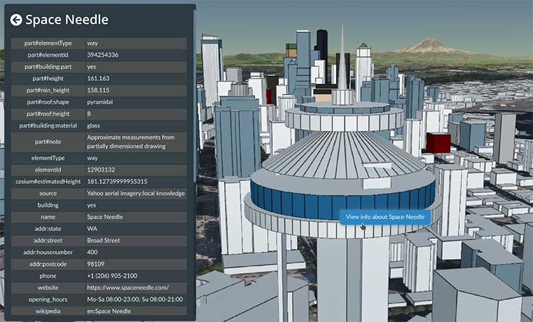 Seattle's Space Needle. (Image: Cesium)