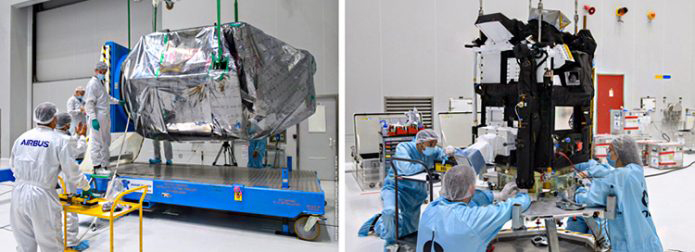 Spain's SEOSAT-Ingenio (left) is readied for the startup of its checkout process in the Spaceport's S5 payload preparation facility, which will begin after the external wrapping is removed. The French Taranis scientific satellite (right) undergoes an initial inspection in another of the S5 clean room areas. (Photos: Arianspace)