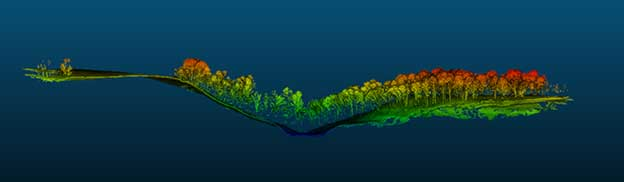 Cross-section of lidar point cloud (Image: RedTail Lidar Systems)