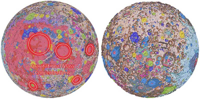 "Figure 2: Unified Geologic Map of the Moon https://www.usgs.gov/news/usgs-releases-first-ever-comprehensive-geologic-map-moon Orthographic projections of the ""Unified Geologic Map of the Moon"" showing the geology of the Moon's near side (left) and far side (right) with shaded topography from the Lunar Orbiter Laser Altimeter. It will serve as a reference for lunar science and future human missions to the Moon. Gravitational mass concentrations are also depicted in the image showing the majority being on the nearside while the farside is void of gravitational concentrations. Check out a video of rotating sphere. https://www.usgs.gov/media/videos/unified-geologic-map-moon (Photo: NASA/GSFC/USGS)"