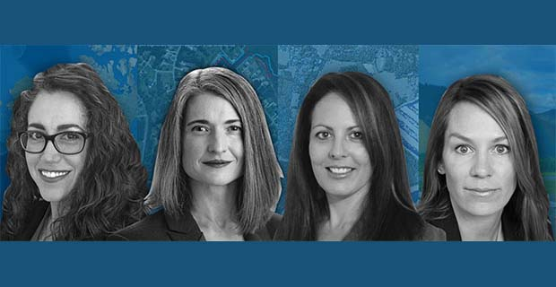 Women make up more than half of the company's team. From left are Alexa Ramirez, Nicole Wigston, Danielle Comely and Cherie Jarvis. (Image: NV5 Geospatial)